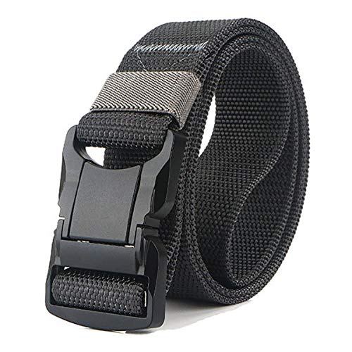 QAZSE Quick Release Nylon Tactical Belt for Men Heavy Duty Metal Buckle Web Belt 1.5inch Dark Grey Medium - For waist 36-41