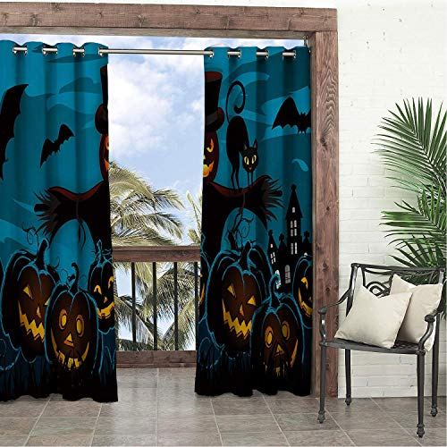 Balcony Waterproof Curtains Halloween Pumpk Lantern Scarecrow Porch Grommets Adjustable Curtain 96 by 72 -