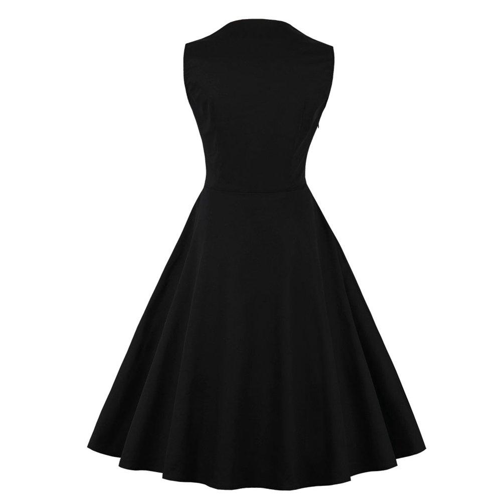 iShine Womens Vintage 50s Sleeveless Square Neck Plaid ...