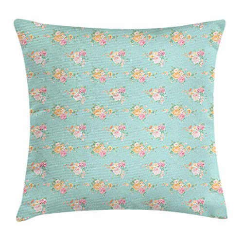 FAFANIQ Roses Throw Pillow Cushion Cover, Floral Shabby Chic Pattern with Wildflower Bouquets Soulful Spring Garden…