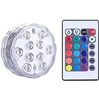 Qoolife Sumergible Luces LED Control remoto Alimentado por batería, Cambio de color RGB Luz impermeable para base de florero, Floral, Acuario, Estanque, Boda, Halloween, Fiesta, Navidad