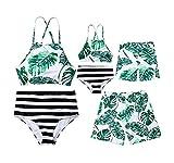 Family Matching Swimwear Mom Dad Boy Girl Leaf Print Halter Swimwear Striped Beachwear Swim Trunks