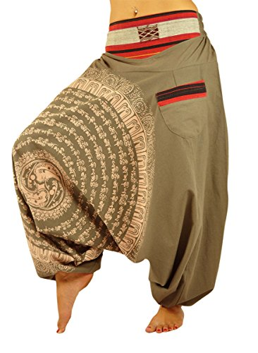 virblatt womens harem pants drop crotch with hand-drawn Mandala