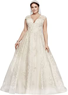 45da2417efd8 Cap Sleeve Lace Plus Size Ball Gown Wedding Dress Style 8CWG768 at ...