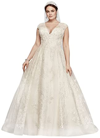 David\'s Bridal Oleg Cassini Plus Size Ball Gown Wedding Dress Style ...