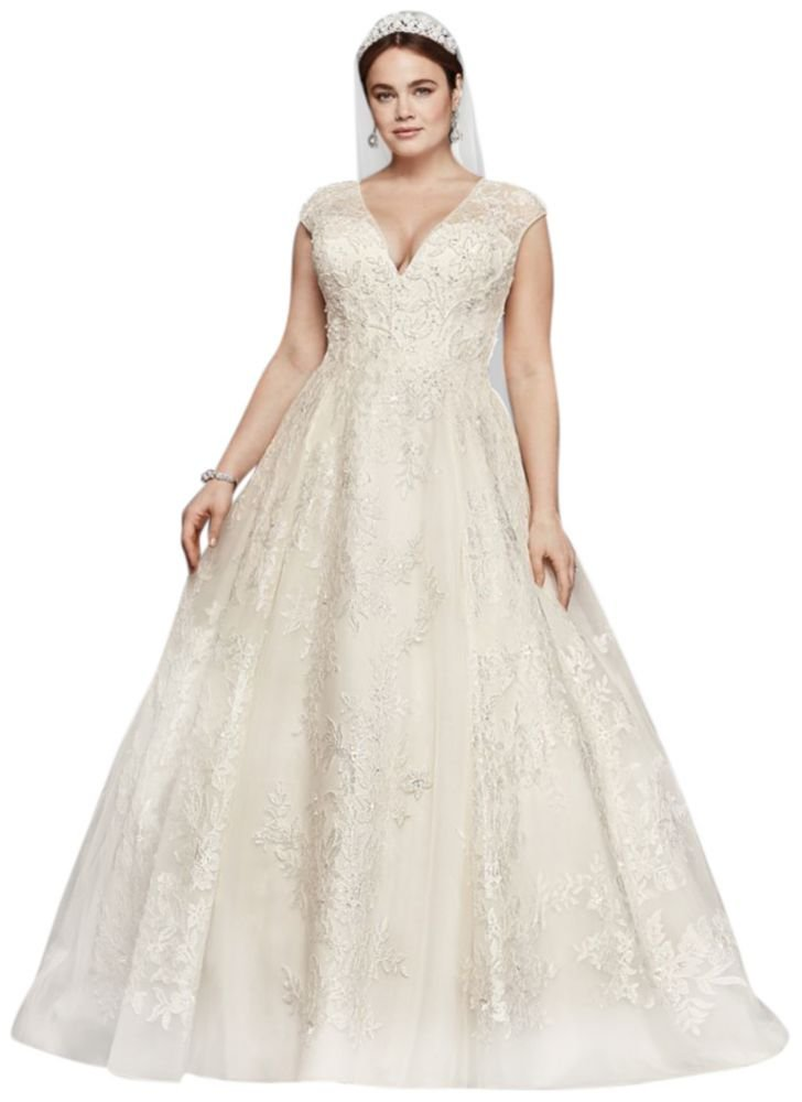 Oleg Cassini Plus Size Ball Gown Wedding Dress Style 8CWG748 - Top ...