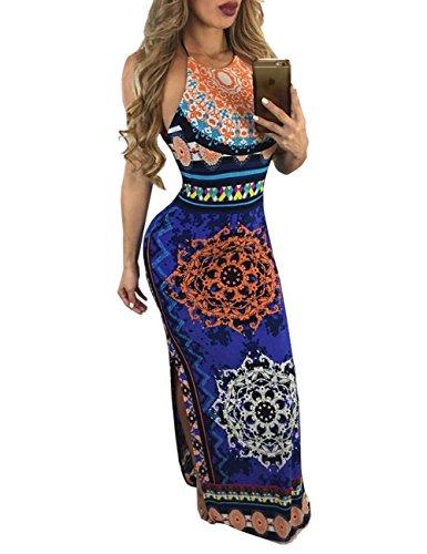 Ninimour Womens Ethnic Side Split Halter Drawstring Maxi Dress (Hot Very Dress Sexy Silk)