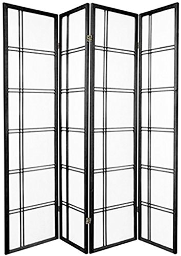 Floral Room Oriental Divider (Magshion Oriental Room Divider Hardwood Shoji Screen (4 Panel Square-black))