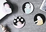 Zhahender Creative Cute Mirror Women's Accessories Mini Round Cartoon Girl Pattern Small Glass Mirrors Circles for Crafts Decoration Cosmetic Accessory