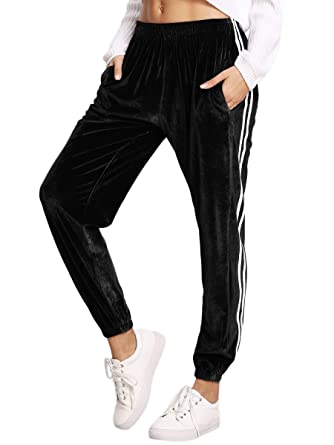 1277ca206e5 SweatyRocks Women s Jogger Pants Tape Side Velvet Drawstring Sweatpants  with Pockets Black S