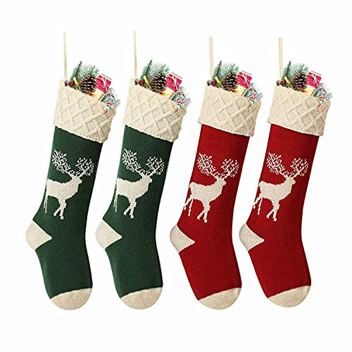Yostyle Christmas Stockings,Big Size 4Pack 18-Inch Extra Long Hand-Knitted Red/Green Reindeer Snowflakes Xmas Character for Family Holiday Season Decor (The Best Christmas Stockings)