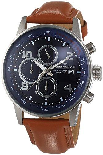 TOM TAILOR Herren-Armbanduhr Chronograph Quarz Leder 5414005