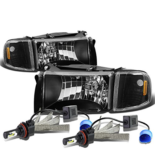 For Dodge Ram 2nd Gen BR/BE Black Housing Amber Corner Headlight & Corner Light + 9007 LED Conversion Kit ()
