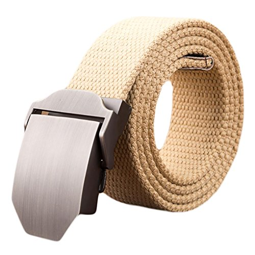 Ayli Mens Webbed Belt, Metal Buckle Casual Canvas Belt with Key Chain