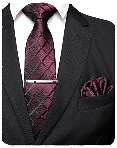 JEMYGINS Plaid Maroon Tie and Pocket Square Hankerchief Mens Silk Necktie with Tie Clip Sets(1)