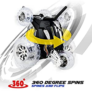 SHARPER IMAGE Thunder Tumbler 49MHz Children's Remote Control Spinning 360° Rotating Car Toy for Boys/ Girls, Stunt RC Race Truck, For Two-Vehicle Fun, Combine Only with Blue OR Red Car BLACK