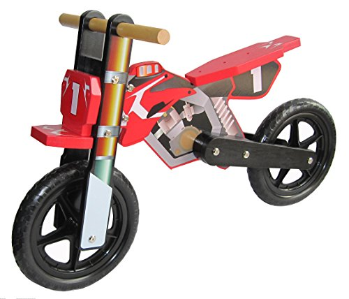 KIMO Wooden Balance Running Bike - Birch Wood Bike Without Pedals - Perfect Training Bike For Toddlers & (Police Balance Bike)