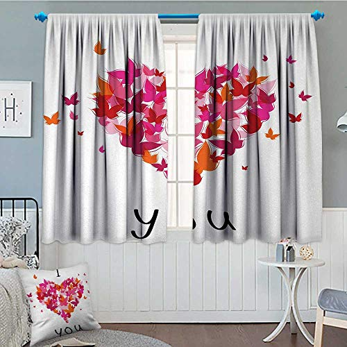 Anniutwo Love Thermal Insulating Blackout Curtain Stylish Heart Figure Filled with Butterflies Soul Mate Real True Deep My Dear Valentines Patterned Drape For Glass Door 63