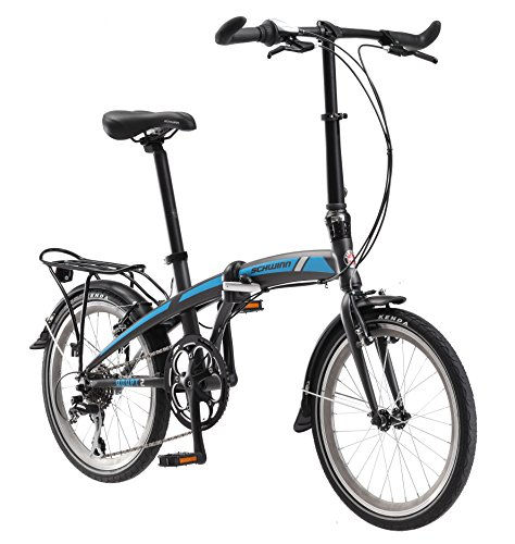 "Schwinn Adapt 2 8 Speed Folding Bike Matte Charcoal 20"" Whee"