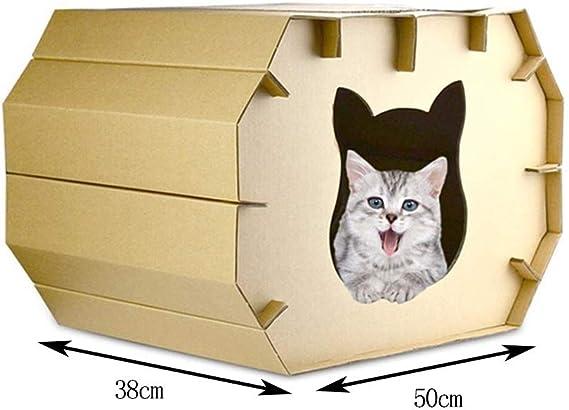Lcxligang Rasguño del Gato en los foros Rascador de cartón Corrugado Paper House: Amazon.es: Hogar