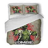 SanChic Duvet Cover Set Horror Comic Book Style Zombie with Red Stains on Movies Decorative Bedding Set with 2 Pillow Shams Full/Queen Size
