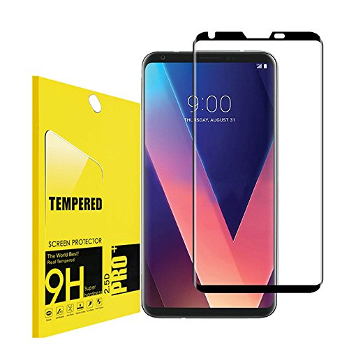 for LG V30 Tempered Screen Protector,Lostep[9H Hardness][Anti-Scratch][Scratch Resistant][Bubble-Free] HD Clear Film Screen Protector for LG V30(Black)