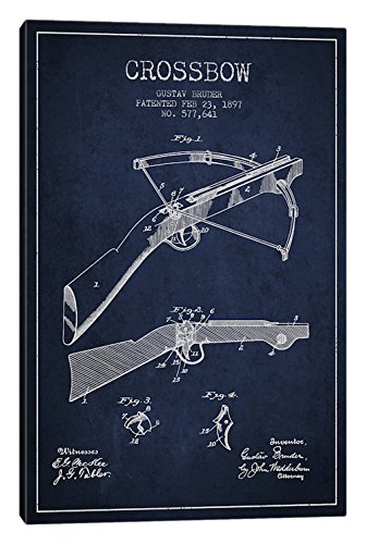 "iCanvasART Crossbow Bow 1 Navy Blue Patent Blueprint Canvas Print, 26"" x 18"""