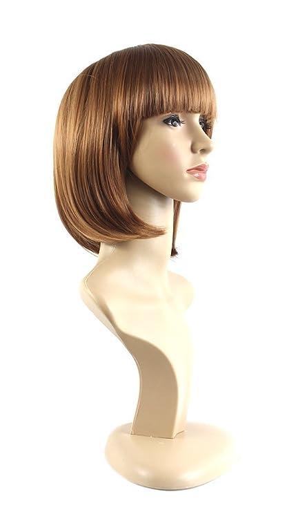 Xiaoyu plana bangs naturales cortos rectos BOB señoras pelucas cosplay - rubia