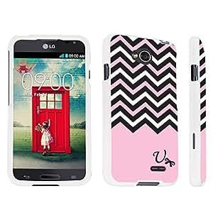 DuroCase ? LG Optimus L70 / LG Optimus Exceed 2 Hard Case White - (Black Pink White Chevron U)