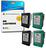 Printing Pleasure 4 XL (2 SETS) Remanufactured Ink Cartridges Replacement for HP 350XL 351XL Photosmart C4280 C4380 C4480 C4485 C4580 C5280 D5360 Deskjet D4260 D4360 - Black/Colour, High Capacity