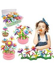 Byserten Flower Garden Building Toys for Girls STEM Flower Stacking Gardening Preschool Craft Kits Toys for 3 4 5 6 Year Old Toddler Xmas Birthday Gifts for Kids Childrens(150pcs)