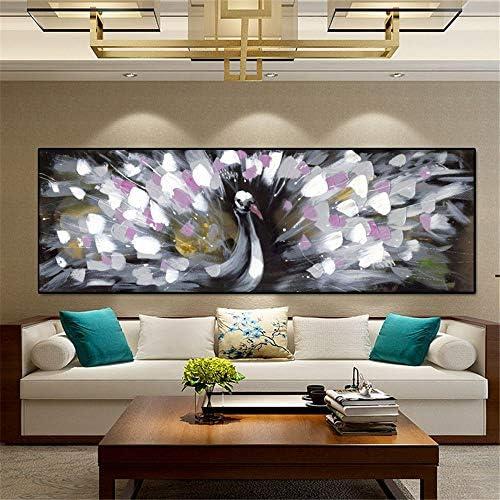 抽象動物油絵ポスターと版画壁アートキャンバス絵画孔雀オープニング写真用リビングルーム50×150センチ枠なし