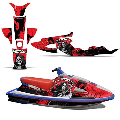 (Yamaha Wave Raider 700 1100 1994-1996 Decal Graphic Kit Jet Ski Wrap Jetski WR700 WR1100 REAPER RED)