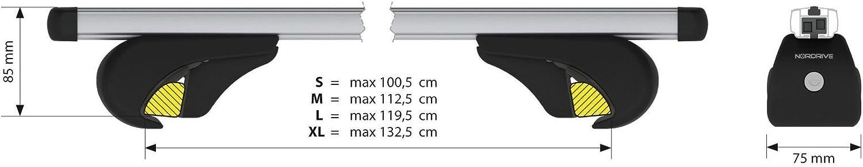 140 cm Yuro XL coppia barre portatutto in alluminio