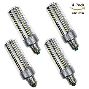 Usboo 4 Piezas E26 E27 5736 SMD LED Luz de Maíz,Iluminación de Lámpara de Ahorro de Energía,3000K-7000K No Regulable,AC 85-265V LED Bombilla de Maíz (20W, Blanco Frio)