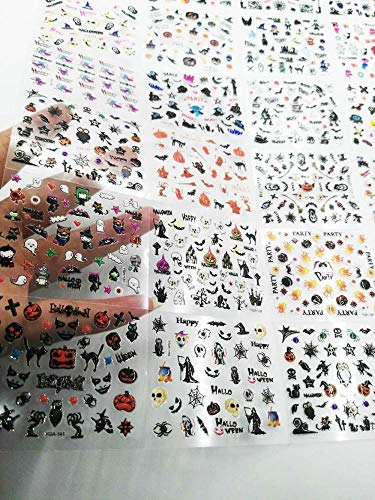 (24 Sheets in 1 Halloween 3D Nail Art Sticker Black Nail Art Nails Stickers Adhesive Skull Nail Art Lace Stickers Decals)