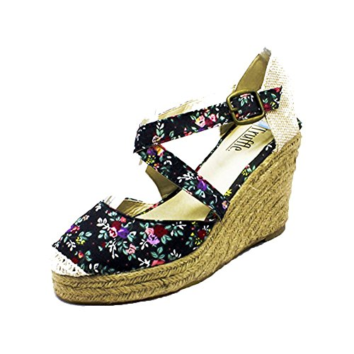 Tacco scarpe Croce Sandali Tela Cinturino Black Ladies Floral AnO7tqxX