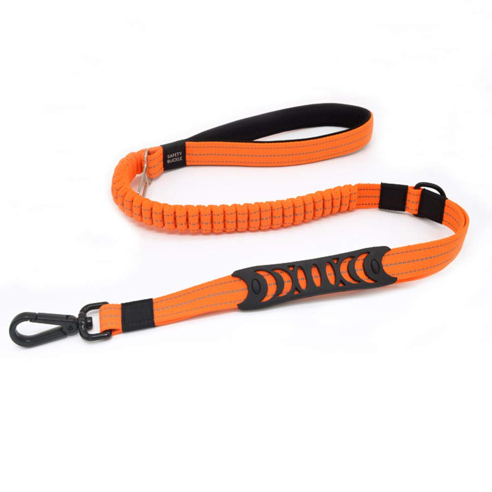 Retractable Two-Handle Dog Chain with Car Safety Buckle Heavy-Duty Shock-Absorbing Reflective Bungee Dog Strap for Traffic Safety Control