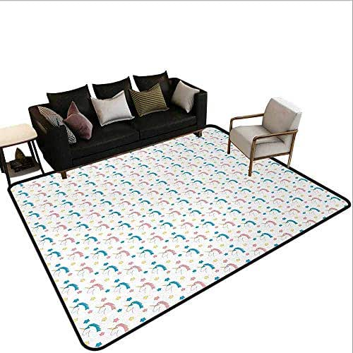 AlEASYHOME Custom Rugs with Logo&Pictures, Fairytale Character Cute Cartoon Unicorns with Colorful Mane Hair and Stars, 3.2′x5.2′ for Bedroom Living Room, Blue Coral Yellow