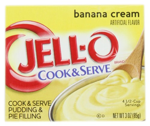 JELL-O Banana Cream Cook & Serve Pudding & Pie Filling (3 oz Boxes, Pack of 24) (Banana Cream Pie Made With Banana Pudding)