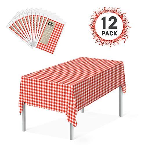 Zoe Deco Premium Plastic Tablecloth (12 Pack, Rectangular 54
