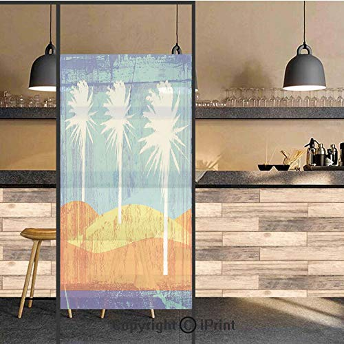 3D Decorative Privacy Window Films,Contemporary Motley Stained Distressed Tropic Beach with Palms Graphic,No-Glue Self Static Cling Glass Film for Home Bedroom Bathroom Kitchen Office 24x48 Inch ()