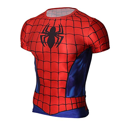 Super Heros Spiderman Men Compression Running Shirt Tight Sports Tee (M, Spider)