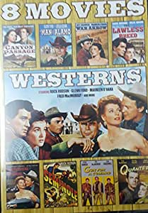 8 Movie Westerns: Quantez / Seminole / Redhead From Wyoming / War Arrow / Canyon Passage / Man From the Alamo / the Lawless Breed / Redhead From Wyoming / Gun for a Coward