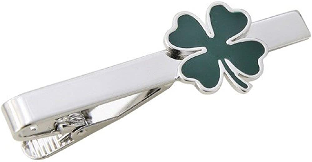 Green Clover Irish Shamrock Four Leaf Cufflinks Saint Patrick Gift Tie Bar Clasp Clip