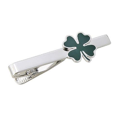 47d61a73c33c Amazon.com: Green Clover Irish Shamrock Four Leaf Cufflinks Saint Patrick  Gift Tie Bar Clasp Clip: Jewelry