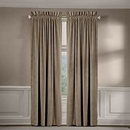 Made in the USA 100% Cotton Velvet Rod Pocket Window Panel, 84-Inch, Pebble by Veratex