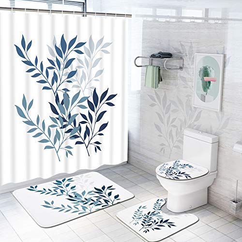 4 Piece Blue Leaves Shower Curtain Set with Non-Slip Rug, Toilet Lid Cover, Bath Mat and 12 Hooks, Waterproof Durable Shower Curtain Sets for Bathroom (Matching Rugs Curtains And)