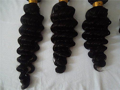 HairPR Hair 3 Bundles Hair Weft Virgin Hair 100% Human Indian Hair Weave 10 Inches-28 Inches Natural Color 300 Gram Deep Wave
