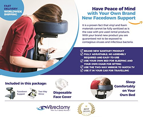 Complete Face Down Support System Package- Post Vitrectomy, Macular Hole and Retinal Detachment Surgery Recovery Equipment + 2-Way Mirror to Watch TV+ Disposable Cover (Face System)